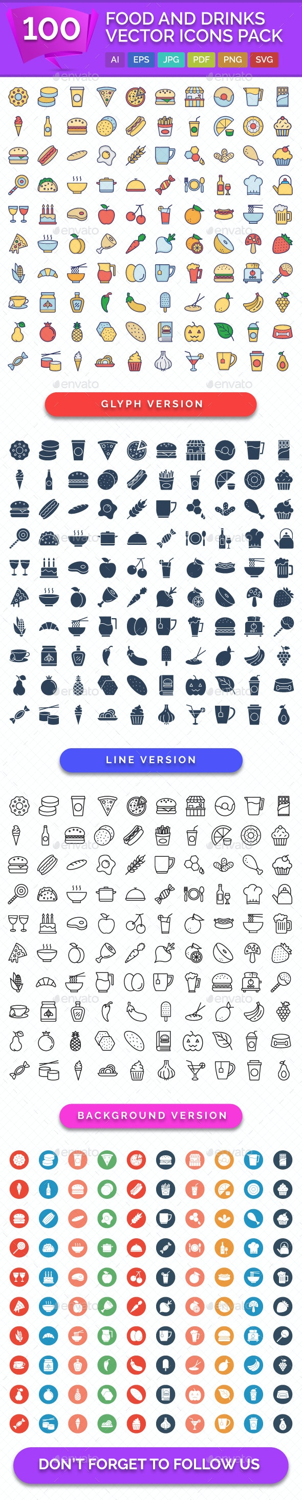 100 Food and Drinks Vector Icons Pack - Icons