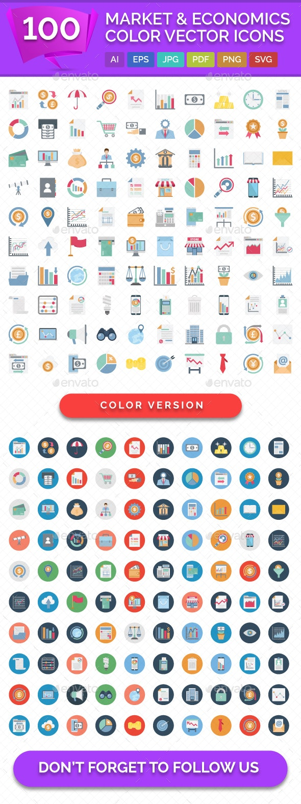 100 Market and Economics Color Vector Icons - Icons
