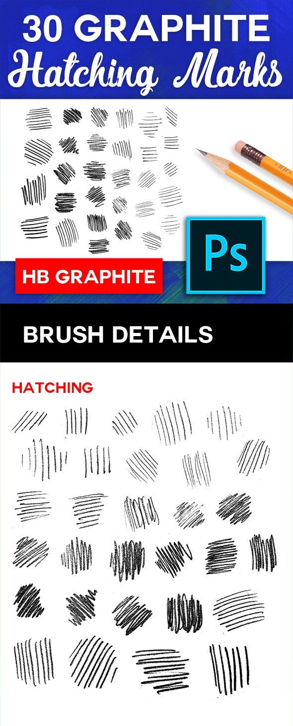 30 HB Graphite Pencil Brushes - Hatching
