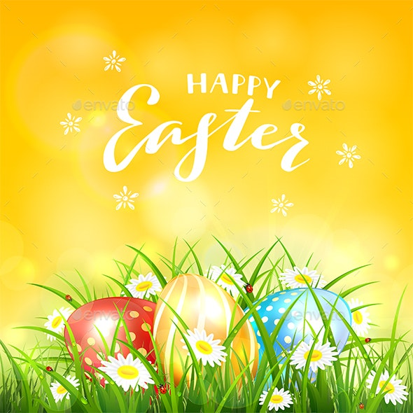 Orange Background with Easter Eggs in Grass - Miscellaneous Seasons/Holidays