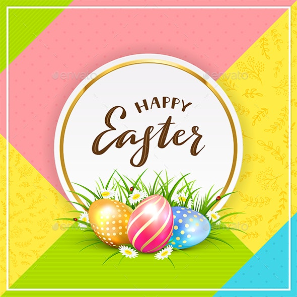 Card with Easter Eggs in Grass on Colorful Background - Miscellaneous Seasons/Holidays