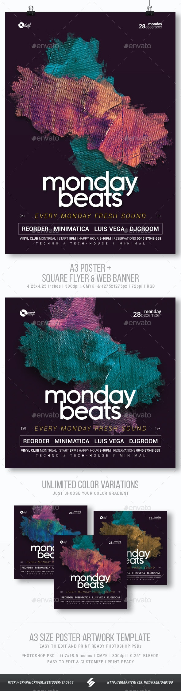 Monday Beats - Club Music Party Flyer / Poster Template A3 - Clubs & Parties Events