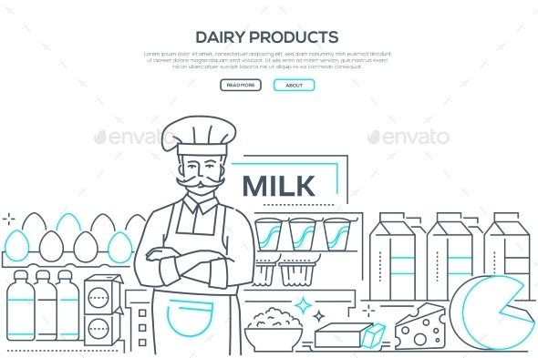 Dairy Products - Line Design Style Web Banner - Food Objects