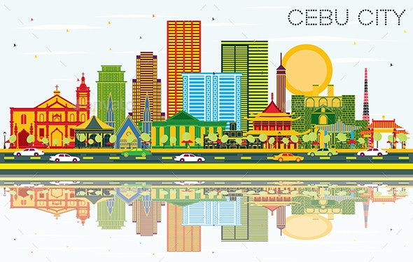 Cebu City Philippines Skyline with Color Buildings - Buildings Objects