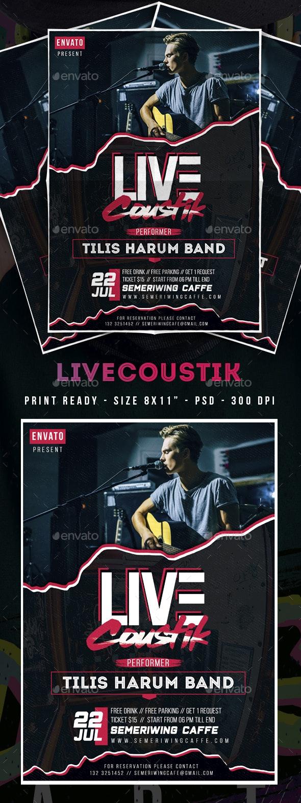 Live Acoustic Flyer - Clubs & Parties Events