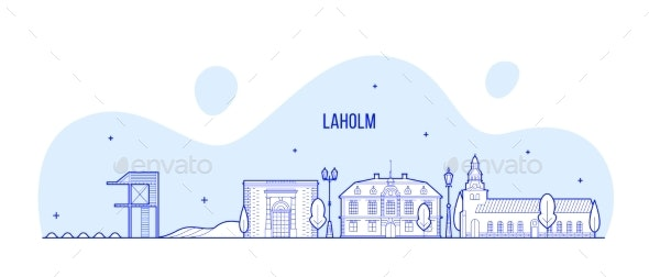 Laholm Skyline Halland County Sweden City Vector - Buildings Objects