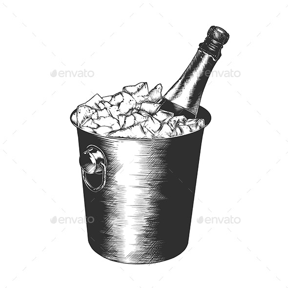 Bottle of Champagne in Ice - Food Objects