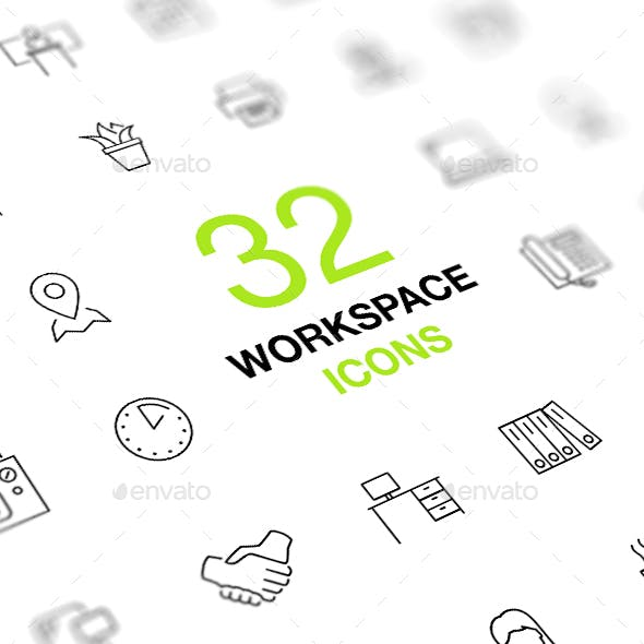Workspace, workplace, office. Outline vector icon set.