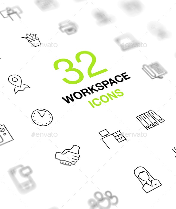 Workspace, workplace, office. Outline vector icon set. - Business Icons