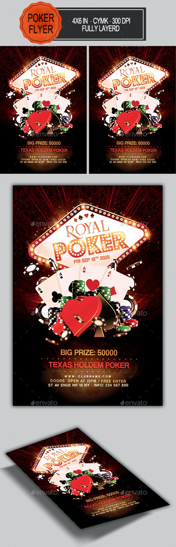 Poker Tournament Flyer Template - Clubs & Parties Events