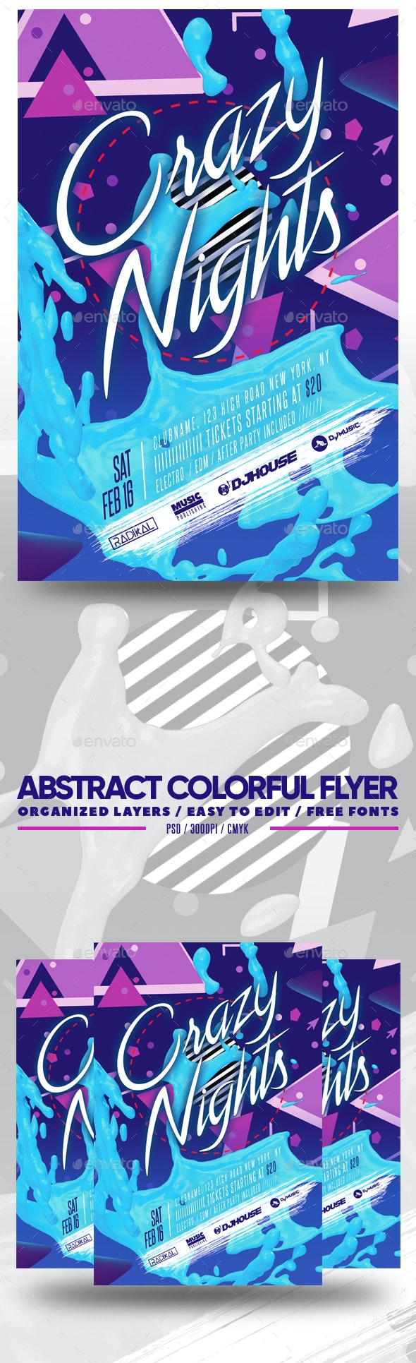 Abstract Colorful Flyer - Clubs & Parties Events