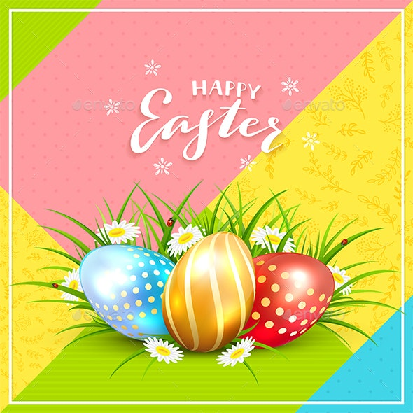 Easter Eggs in Grass on Colorful Background - Miscellaneous Seasons/Holidays