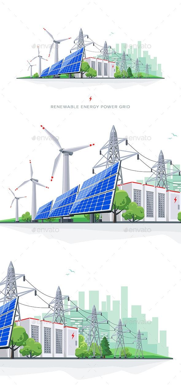 Renewable Solar and Wind Energy Battery Storage - Miscellaneous Vectors