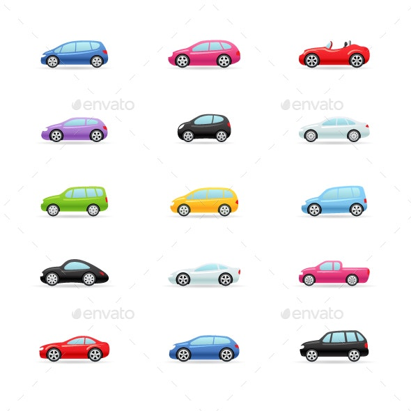 Cars - Color Vector Icons - Icons