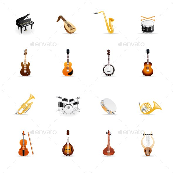 Musical Instruments - Color Vector Icons
