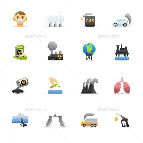 Pollution - Color Vector Icons - Icons