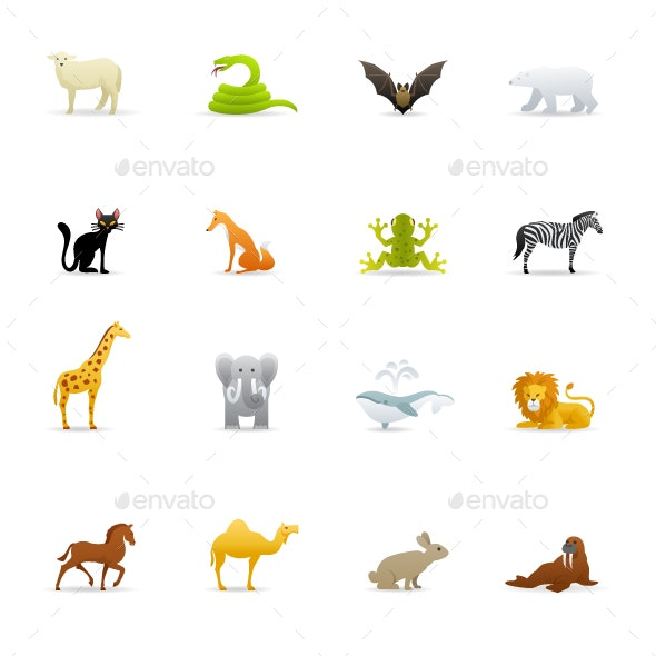 Animals Cartoon - Color Vector Icons - Animals Characters