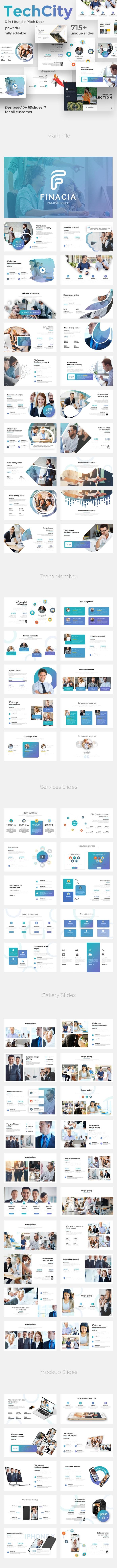 Techcity 3 in 1 Pitch Deck Bundle Google Slide Template - Google Slides Presentation Templates