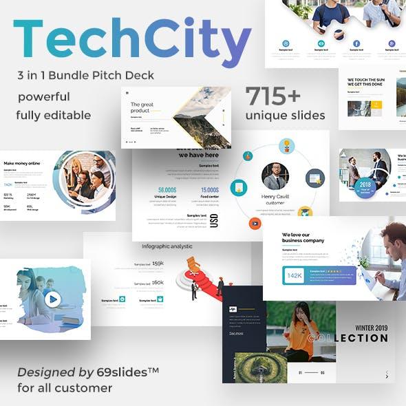 Techcity 3 in 1 Pitch Deck Bundle Google Slide Template