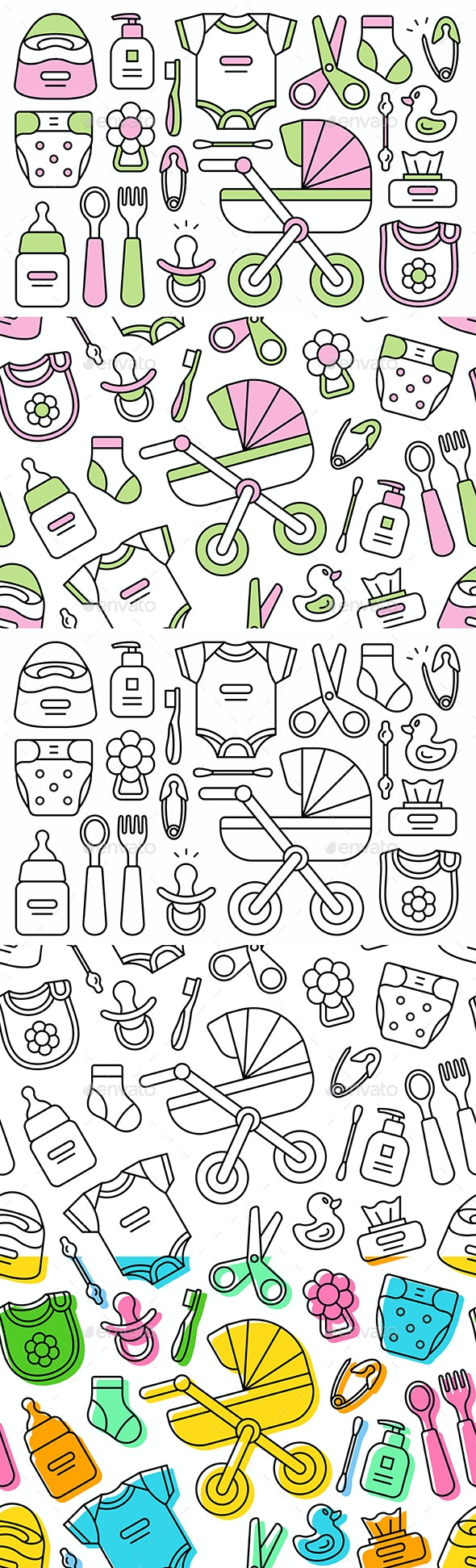 Set of Baby Things - Patterns Decorative