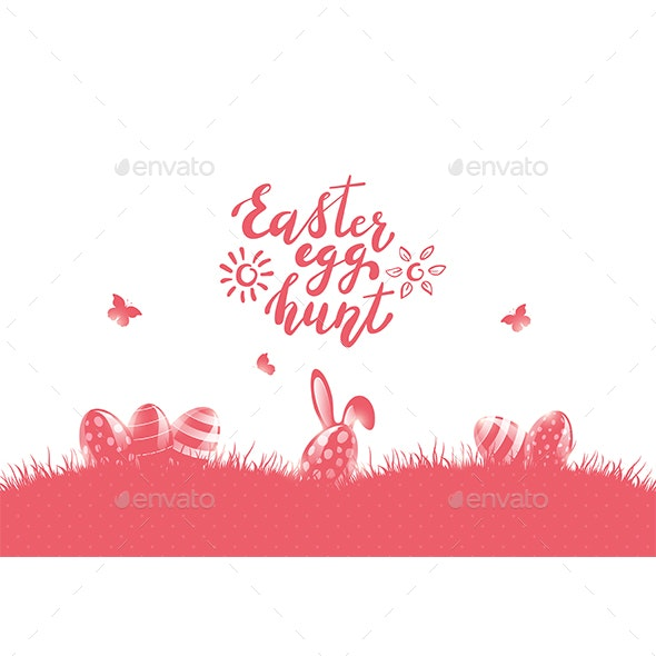 Pink Easter Background with Eggs and Rabbit - Miscellaneous Seasons/Holidays