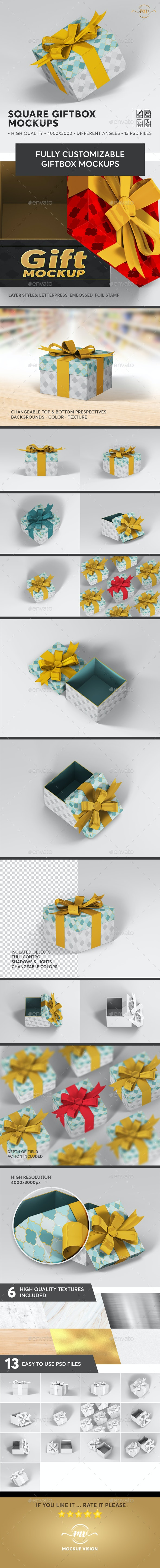 Gift Box Square Mockups - Miscellaneous Packaging