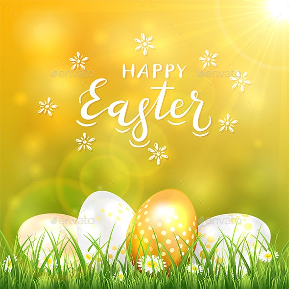 Golden Easter Eggs in Grass - Miscellaneous Seasons/Holidays