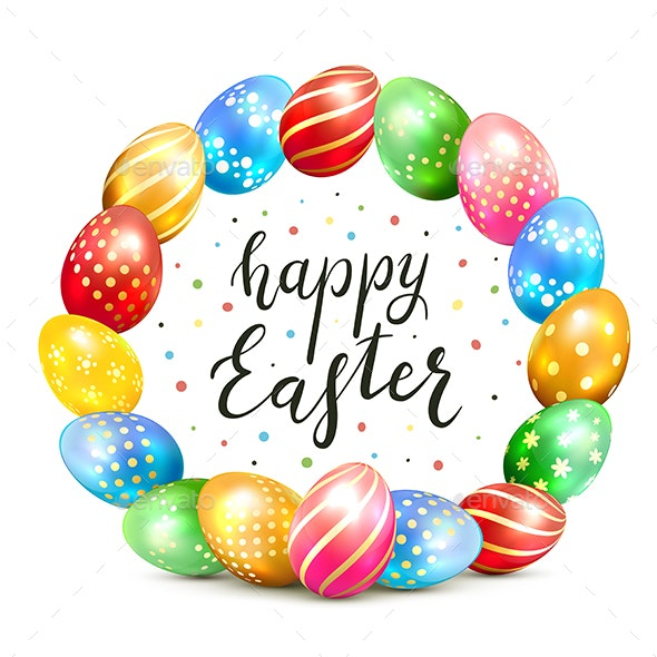 Colorful Easter Eggs on White Background - Miscellaneous Seasons/Holidays