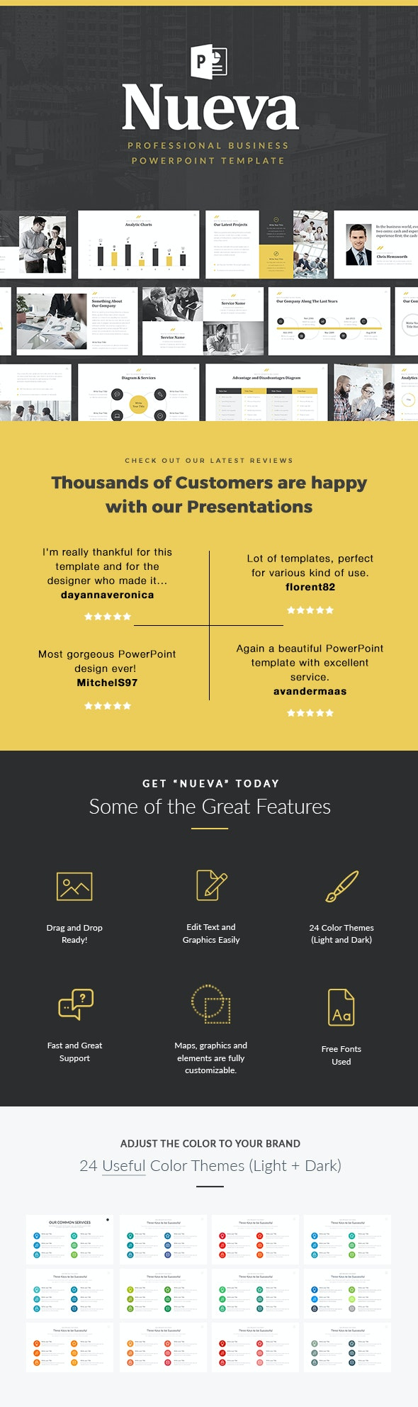 Nueva Business Pitch Deck PowerPoint Template - PowerPoint Templates Presentation Templates