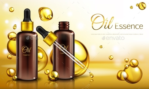Vector Realistic Oil Essence Ad Poster - Man-made Objects Objects