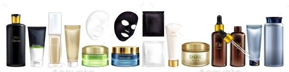 Vector Cosmetic Products for Men and Women - Man-made Objects Objects