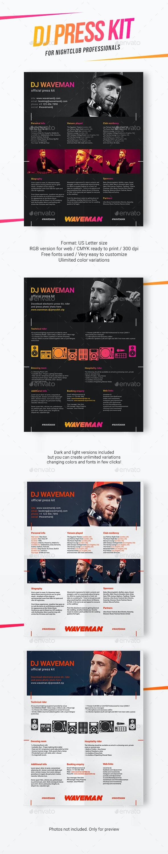 Modern DJ Press Kit / Rider / Resume PSD Template