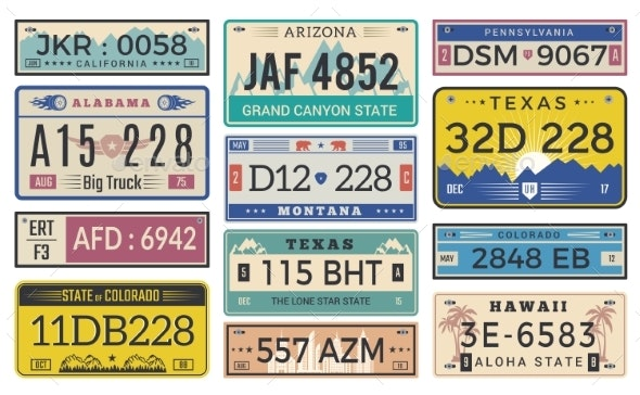 Automobile Plate License - Miscellaneous Vectors