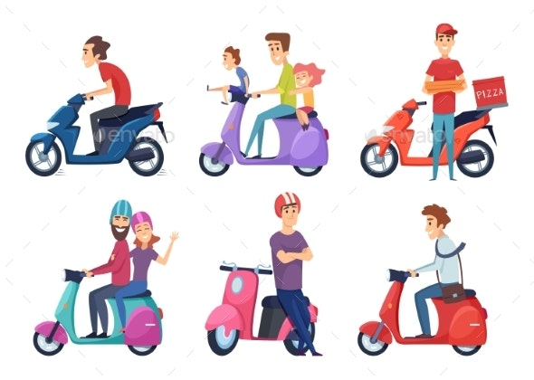 Man Riding Motorcycle - People Characters