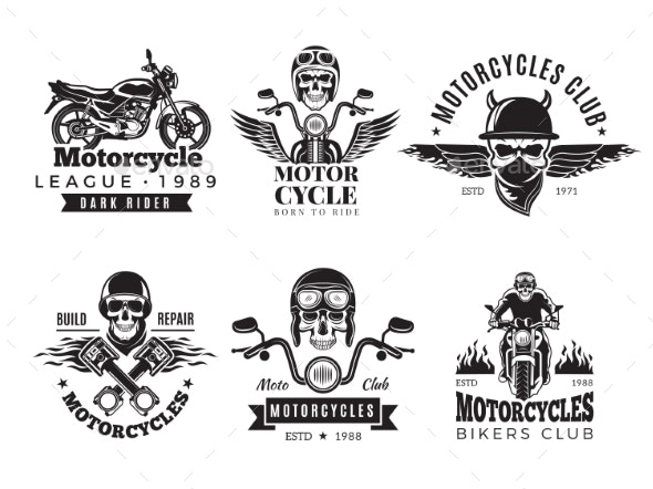 Biker Labels - Miscellaneous Vectors