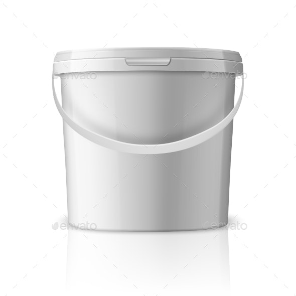 Vector Realistic White Plastic Bucket for Food - Backgrounds Decorative