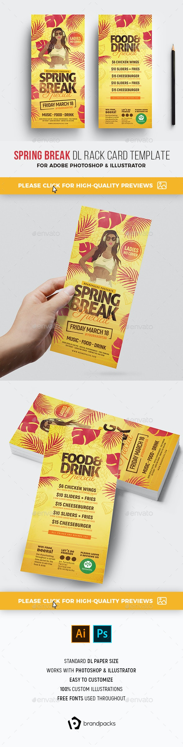Spring Break DL Card Template - Holidays Events
