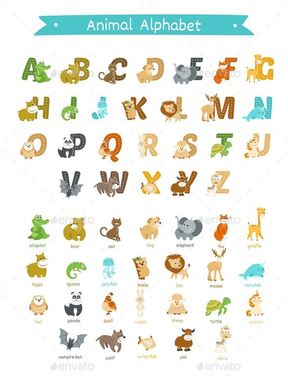 Animal Alphabet Vector Set - Animals Characters