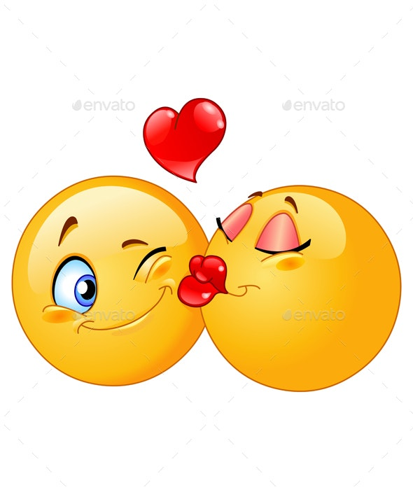 Kissing Emoticons - People Characters