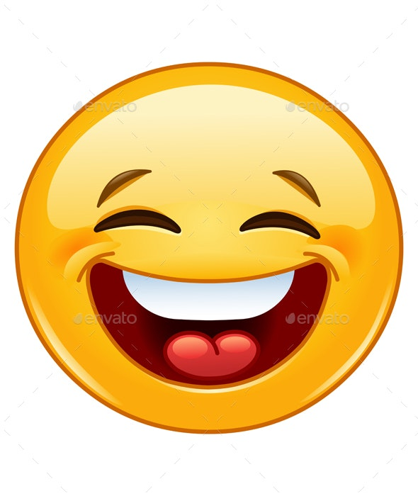 Laughing with Closed Eyes Emoticon - People Characters