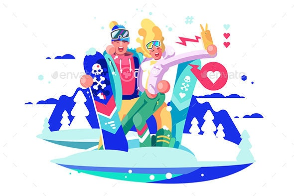 Selfie on Smartphone with Snowboards - Sports/Activity Conceptual