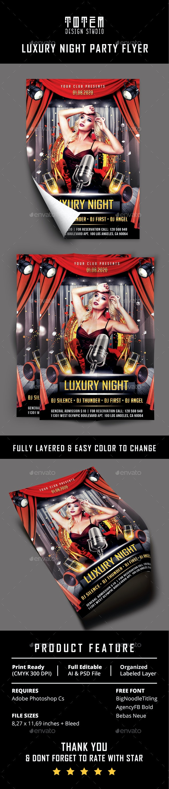 Luxury Night Party Flyer - Print Templates