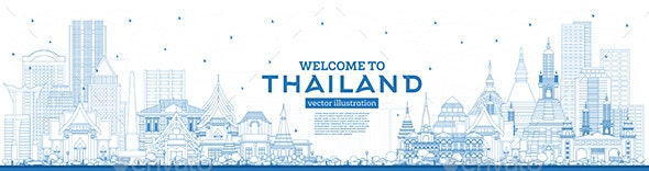 Outline Welcome to Thailand City Skyline with Blue Buildings - Buildings Objects