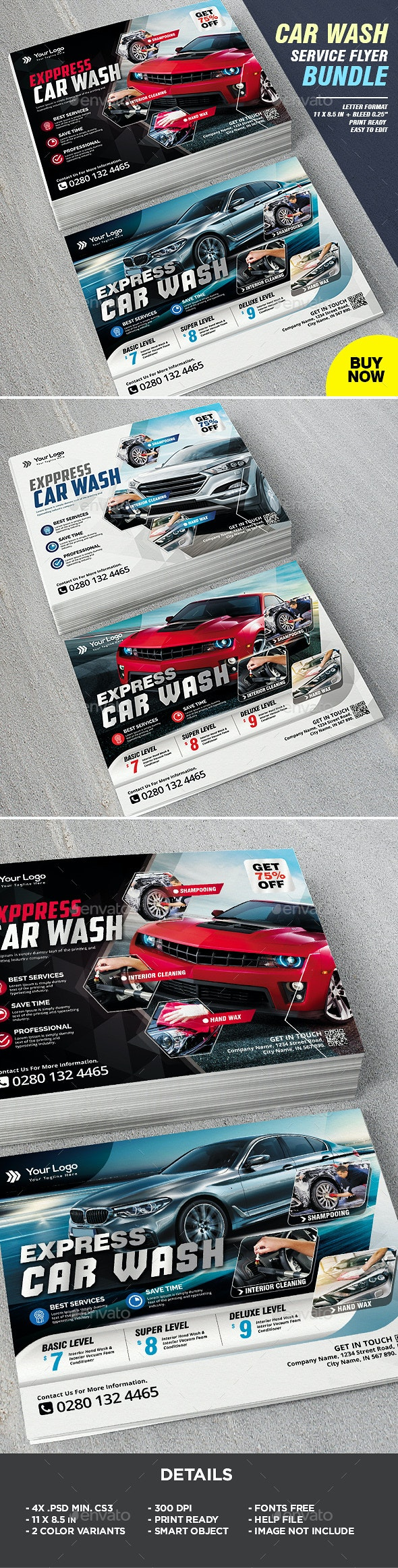 Car Wash Flyer Template Bundle - Corporate Flyers