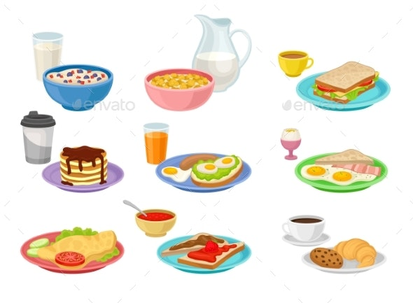 Flat Vector Set of Food and Drink Icons - Food Objects