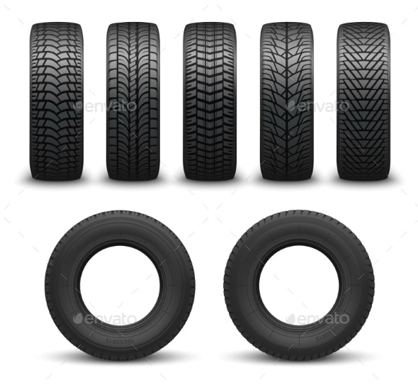 Car Wheel Tires or Tyres Vector - Man-made Objects Objects