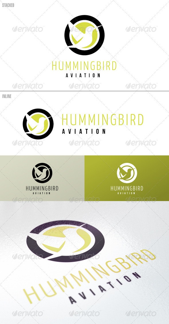 Hummingbird On Circles – Logo Template - Animals Logo Templates