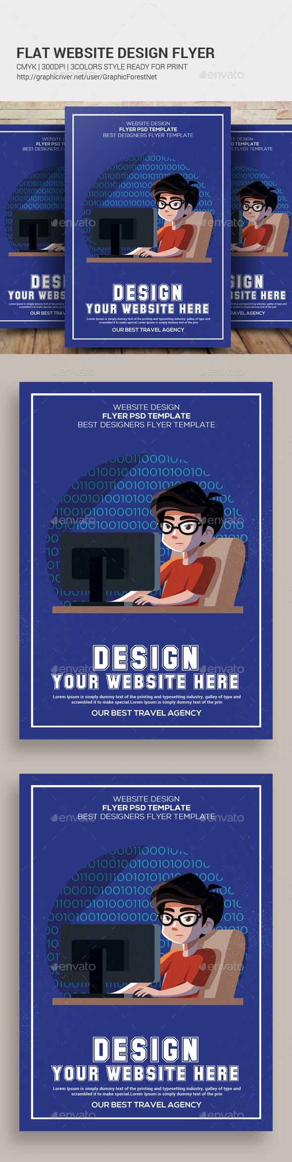 Flat Website Design Flyer - Flyers Print Templates