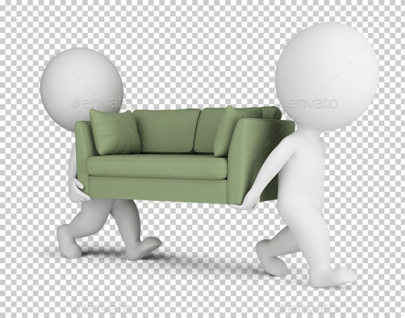 3D Small People Carry a Sofa - Characters 3D Renders