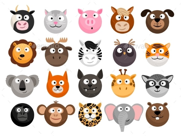 Animal Emoticons Set - Animals Characters